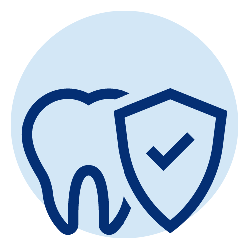 Line icon of a tooth with a shield in front