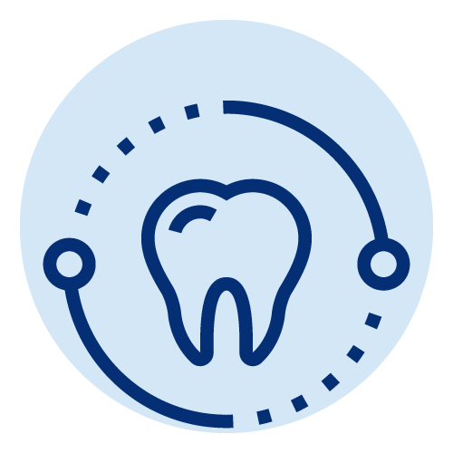 Icon of a tooth inside a dashed circle